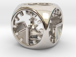 Tick Tock D6 in Rhodium Plated Brass