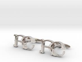 Monogram cufflinks 'RC' in Rhodium Plated Brass