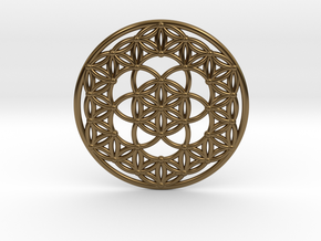 Seed Of Life - Flower Of Life in Polished Bronze