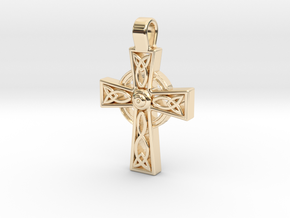 Celtic Cross Pendant in 14K Yellow Gold