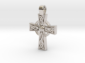 Celtic Cross Pendant in Rhodium Plated Brass