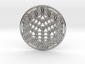 64 Tetrahedron Grid - Flower of life in Polished Silver