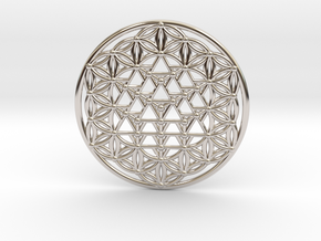 64 Tetrahedron Grid - Flower of life in Rhodium Plated Brass
