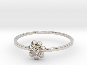 Blooming Flower (size 4-13) in Rhodium Plated Brass: 4 / 46.5