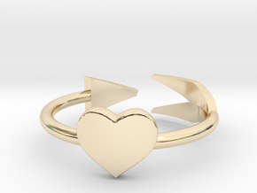 Arrow with one heart ring 17mm in 14k Gold Plated Brass