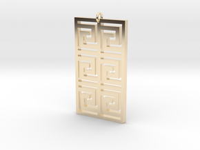 Maze Square Pendant in 14k Gold Plated Brass