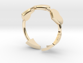 Arrow with three hearts ring 17mm in 14k Gold Plated Brass