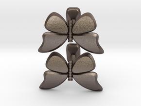 Butterfly Cufflinks 1 in Polished Bronzed Silver Steel