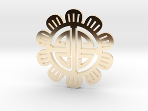 Flower Coin in 14k Gold Plated Brass