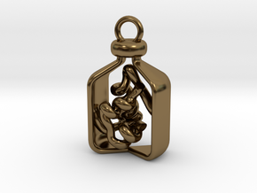 Vial of Insulin Charm - A treatment, not a cure. in Polished Bronze