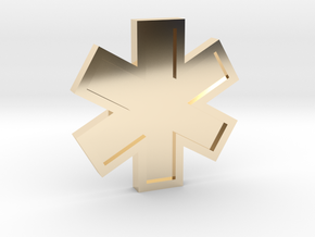 EMS Star of Life in 14k Gold Plated Brass