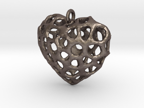 Voronoi Heart Piece Necklace in Polished Bronzed Silver Steel