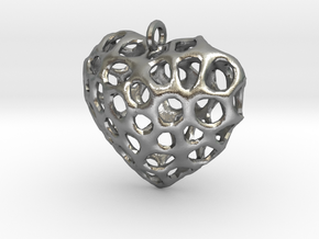 Voronoi Heart Piece Necklace in Natural Silver