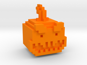 Pixel Pumpkin Head in Orange Strong & Flexible Polished