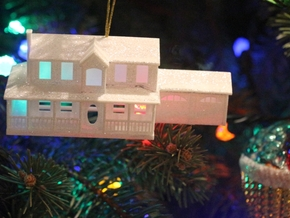 YOUR HOUSE as a Custom Christmas Tree Ornament in White Natural Versatile Plastic