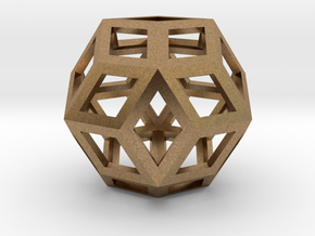 "Rhombic Triacontahedron (Precious Metals) .9"" in Natural Brass"