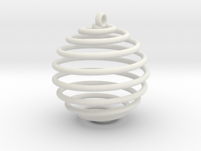 Spiral Sphere in White Natural Versatile Plastic