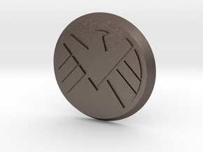 Agents Of Shield Button in Polished Bronzed Silver Steel