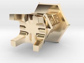 3D Japanese Stone Lantem in 14k Gold Plated Brass