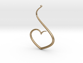 Love Heart Pendant in Polished Gold Steel