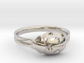 Ladybug Loved Midi Ring in Rhodium Plated Brass