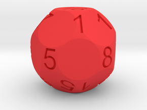 D17 Sphere Dice numbered from 0 to 16 in Red Processed Versatile Plastic