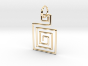 Square Spiral Pendant in 14k Gold Plated Brass