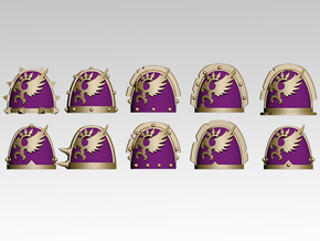 Phoenix Spiked Shoulder Pads x10 in Smooth Fine Detail Plastic