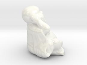 BuddhaHearNoEvil in Gloss White Porcelain