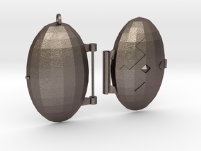 Diamond-Patterned Locket in Polished Bronzed Silver Steel