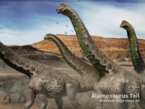 Alamosaurus Tail (Total 80cm / 1:36) in White Strong & Flexible