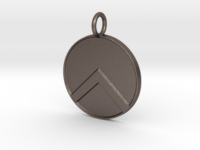 Spartan shield Pendant in Polished Bronzed Silver Steel
