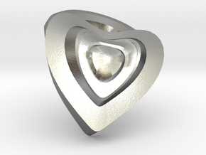 Heart- charm in Natural Silver