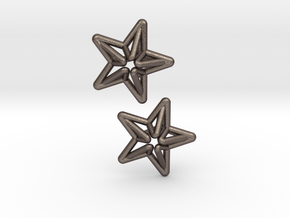 Star Cufflink in Polished Bronzed Silver Steel