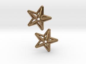 Star Cufflink in Natural Brass