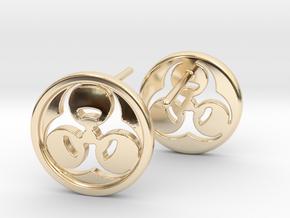 Bio Hazard Earrings in 14k Gold Plated Brass