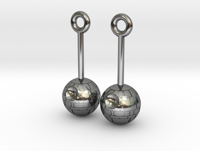 DeathStar earrings 8mm dimameter in Premium Silver