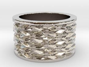 Basketweave Ring in Rhodium Plated Brass: 13 / 69