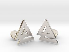 Delta 2 Cufflinks in Rhodium Plated Brass