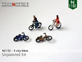 4 City-bikes (N 1:160) in Smoothest Fine Detail Plastic