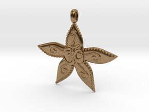 Starfish OM GOA Symbol Jewelry Necklace in Natural Brass