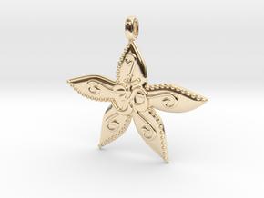 Starfish OM GOA Symbol Jewelry Necklace in 14K Yellow Gold