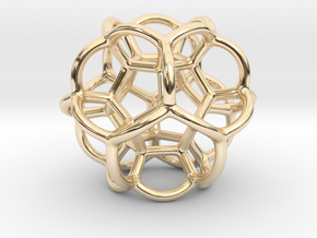 Soap Bubble Dodecahedron in 14K Yellow Gold: Small