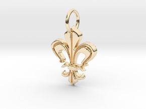 """Heraldic """"Lilie 2"""" in 14k Gold Plated Brass"""