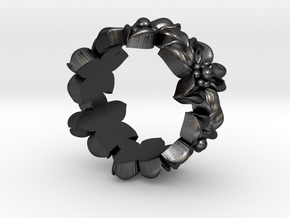 Flower Ring Size 4.5 in Polished and Bronzed Black Steel