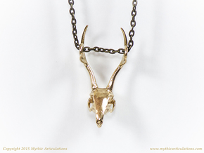 Jackalope Skull Pendant in Raw Bronze