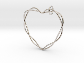 Woven Heart with Bail in Rhodium Plated Brass: Extra Small