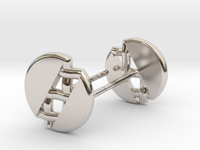 Pie Lattice Earrings 1 in Rhodium Plated Brass