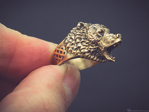 Roaring bear ring in Raw Bronze