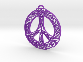 Celtic Peace Symbol Pendant in Purple Processed Versatile Plastic